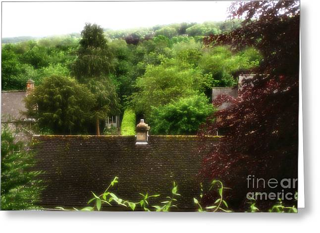 Garden Scene Digital Art Greeting Cards - Roof Tops In Countryside Scenery With Trees - Peak District - England Greeting Card by Michael Braham