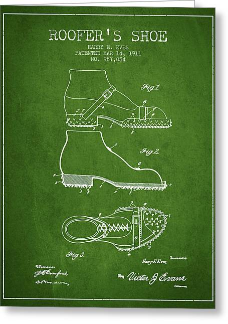 Boots Digital Art Greeting Cards - Roofers Shoe patent from 1911 - Green Greeting Card by Aged Pixel