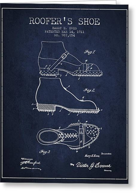 Boots Digital Art Greeting Cards - Roofers Shoe patent from 1911 - Navy Blue Greeting Card by Aged Pixel