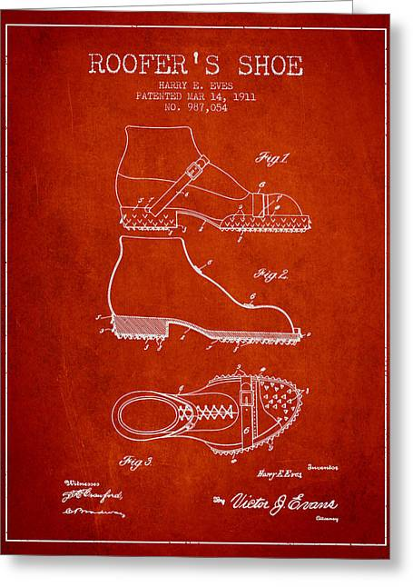 Boots Digital Greeting Cards - Roofers Shoe patent from 1911 - Red Greeting Card by Aged Pixel