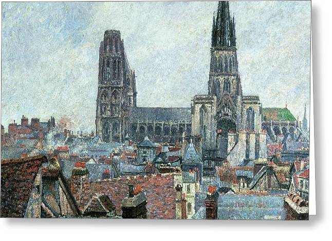 Roofs of Old Rouen Grey Weather  Greeting Card by Camille Pissarro