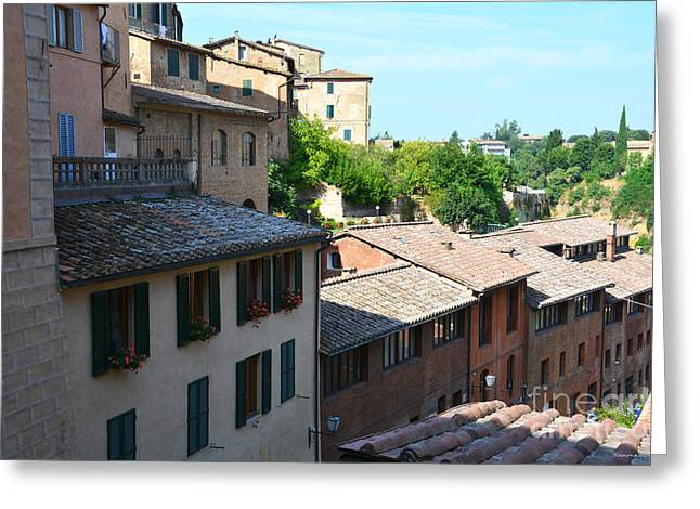 Sienna Italy Greeting Cards - Roofs of Siena 2 Greeting Card by Ramona Matei