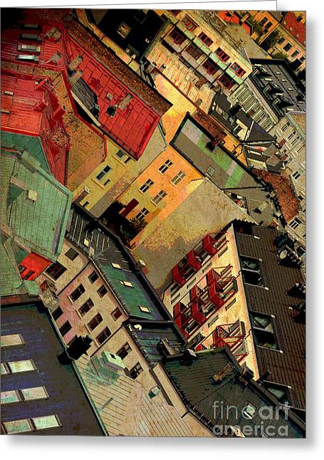 Unique Office Art Greeting Cards - Rooftop Abstract  Warm Textures Greeting Card by Carol Groenen