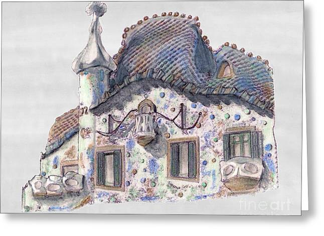 Barcelona Drawings Greeting Cards - Rooftop at Casa Batllo Barcelona Greeting Card by Gerald Blaikie
