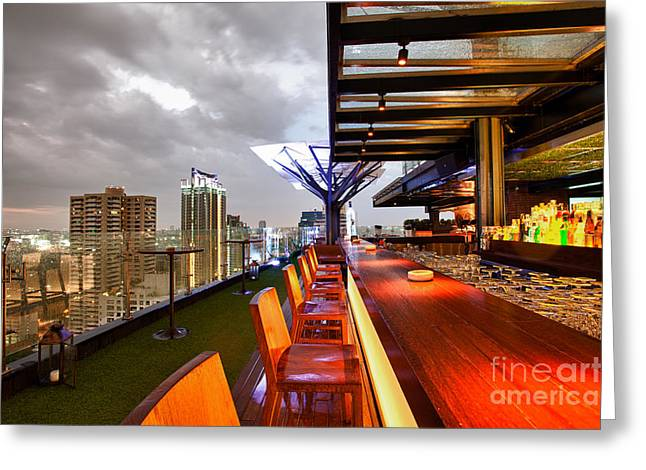 Rooftop bar Above Eleven in Bangkok Greeting Card by Fototrav Print
