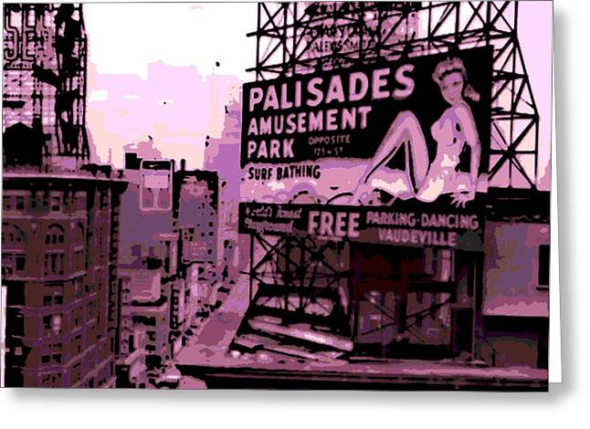 Amusements Greeting Cards - Rooftop Billboard in New York Greeting Card by George Pedro