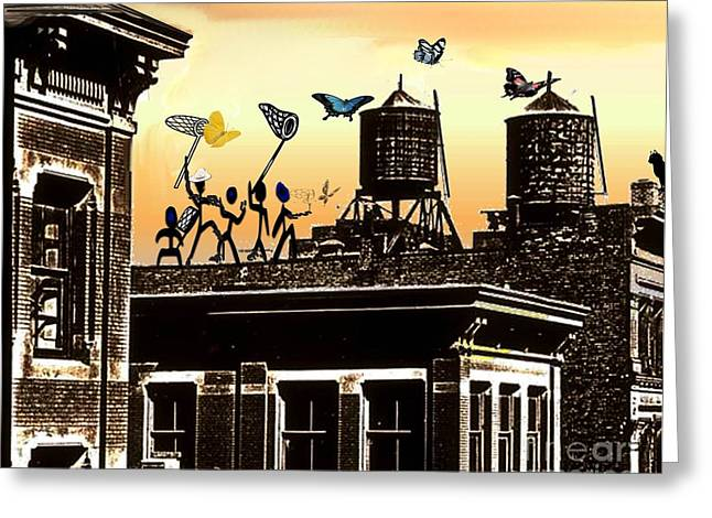 Rooftops Drawings Greeting Cards - Rooftop Fun Greeting Card by Belinda Threeths