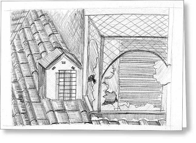 Rooftops Drawings Greeting Cards - Rooftop in Rome Greeting Card by Elizabeth Thorstenson