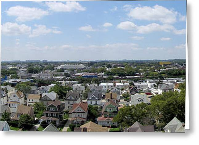 Birdseye Greeting Cards - Rooftop Panorama Greeting Card by Bob Slitzan