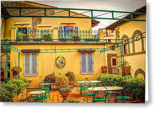 Italian Restaurant Greeting Cards - Rooftop Restaurant - Florence Greeting Card by Mountain Dreams