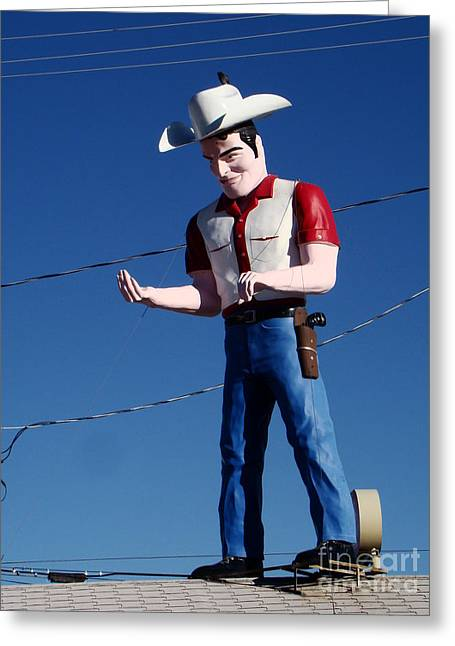 Wooden Sculpture Greeting Cards - Rooftop Sheriff Greeting Card by Eva Kato