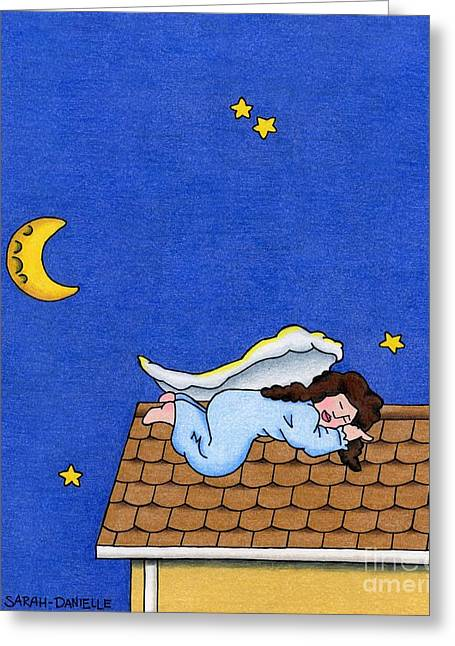 Night Angel Greeting Cards - Rooftop Sleeper Greeting Card by Sarah Batalka
