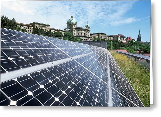 Rooftop Solar Cells Greeting Card by Martin Bond