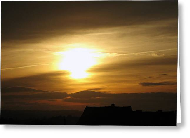 Hitchin Greeting Cards - Rooftop Sunset Hitchin England UK Greeting Card by Stacey Clarke
