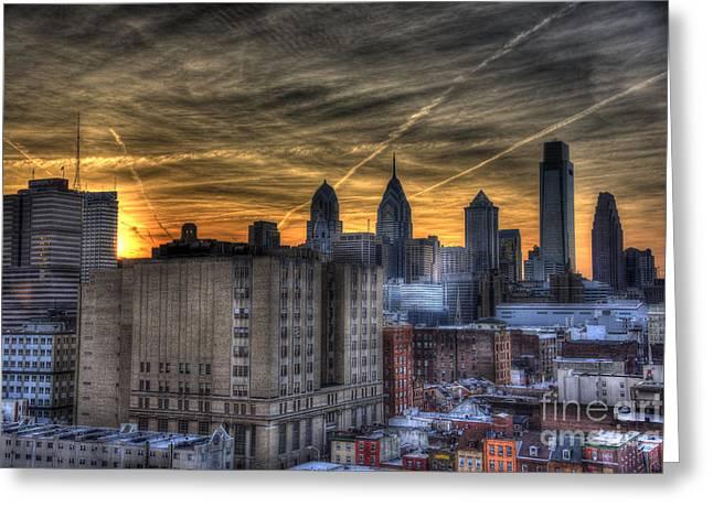 Rooftop Sunset Philadelphia Greeting Card by Mark Ayzenberg