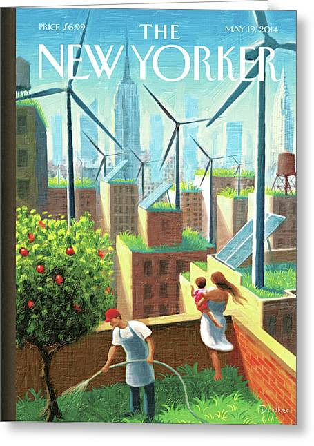 Rooftop Urban Gardening In New York Greeting Card by Eric Drooker