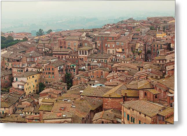 Siena Italy Greeting Cards - Rooftop View of Siena Italy Greeting Card by Kim Fearheiley