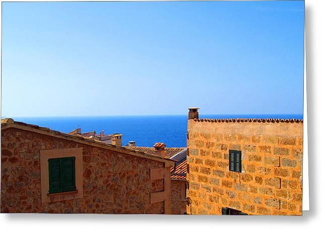 Seacape Greeting Cards - Rooftop View Of The Med Sea Greeting Card by Tina M Wenger
