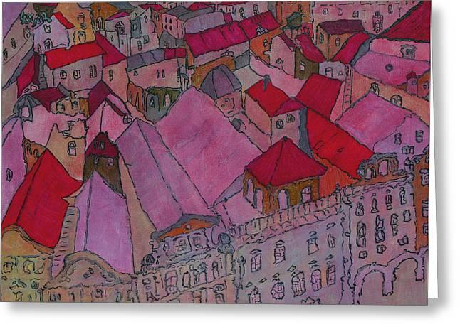 Prague Paintings Greeting Cards - Rooftops II  Greeting Card by Oscar Penalber