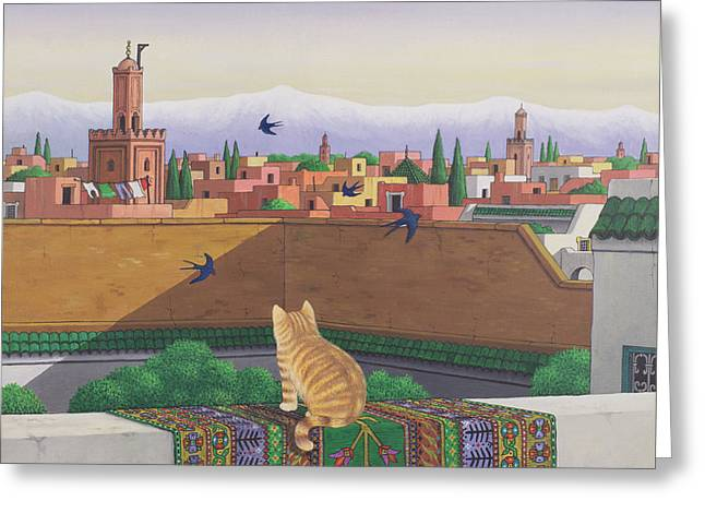 Swallow Photographs Greeting Cards - Rooftops In Marrakesh, 1989 Acrylic On Linen Greeting Card by Larry Smart