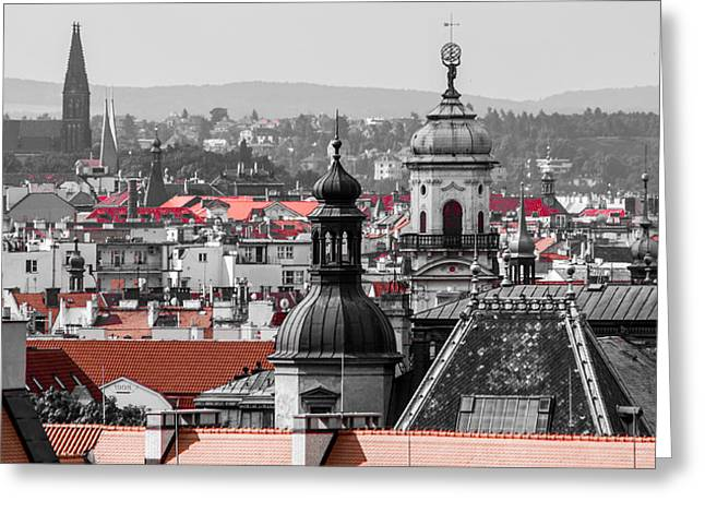 Cupula Greeting Cards - Rooftops in Prague Greeting Card by Georgina Noronha