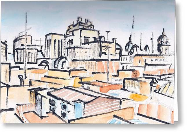 Rooftops Drawings Greeting Cards - Rooftops of Barcelona sketch Greeting Card by Vic Delnore