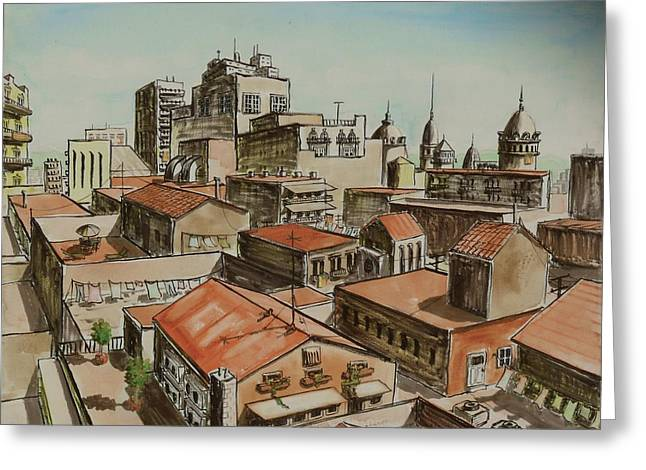 Rooftops Drawings Greeting Cards - Rooftops of Barcelona Greeting Card by Vic Delnore