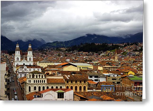 Rooftops Of Cuenca V Greeting Card by Al Bourassa