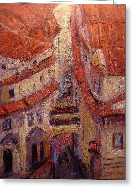 Prague Paintings Greeting Cards - Rooftops of Melantrichova Lane in Prague Greeting Card by R W Goetting