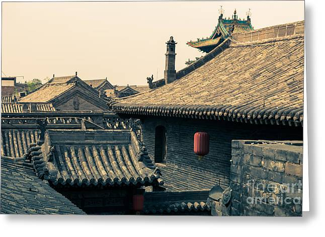 Old Beijing Greeting Cards - Rooftops of old Chinese city Pingyao Greeting Card by Fototrav Print
