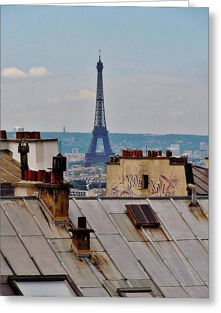 Historic Landmarks Greeting Cards - Rooftops of Paris and Eiffel Tower Greeting Card by Marilyn Dunlap