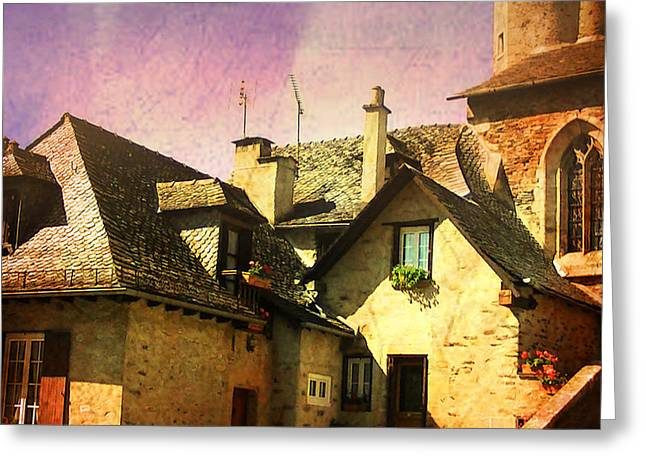 Stone House Greeting Cards - Rooftops of Rocamadour Greeting Card by Catherine Arnas