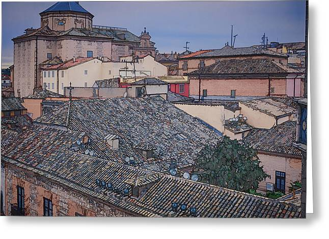 Stones Greeting Cards - Rooftops of Toledo Greeting Card by Joan Carroll