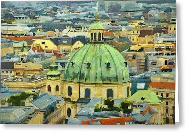 Rooftops of Vienna Greeting Card by Jeff Kolker