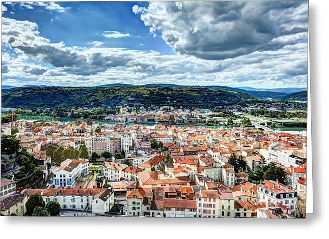 Southern France Greeting Cards - Rooftops Of Vienne Greeting Card by Mel Steinhauer