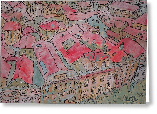 Prague Paintings Greeting Cards - Rooftops  Greeting Card by Oscar Penalber