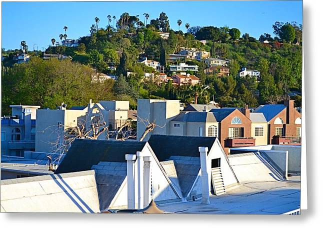 Plant Hollywood Greeting Cards - Rooftops  Greeting Card by Tommi Trudeau