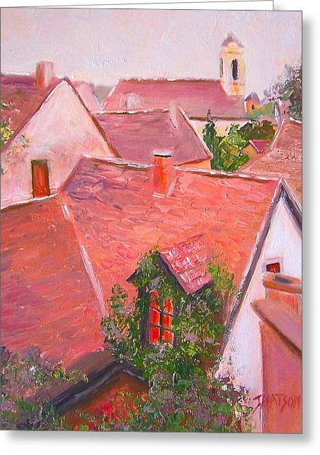 """roof Tile"" Greeting Cards - Rooftops Trogir Croatia Greeting Card by Jan Matson"