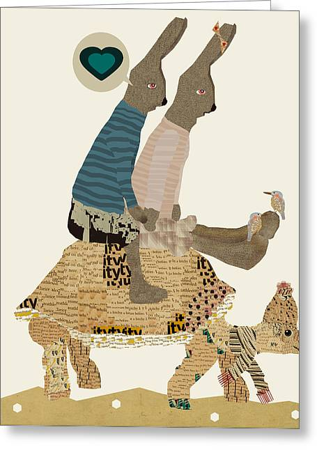 Animals Love Digital Greeting Cards - Room For Two Greeting Card by Bri Buckley