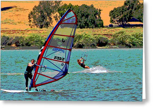 Kite Boarding Digital Art Greeting Cards - Room for Two Greeting Card by Joseph Coulombe