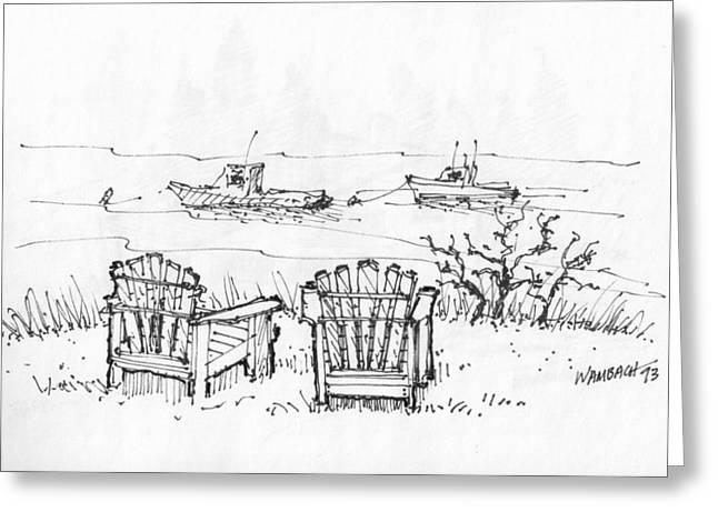 Maine Coast Drawings Greeting Cards - Room for Two Monhegan Island 1993 Greeting Card by Richard Wambach