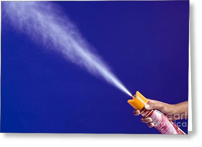 Spray Can Greeting Cards - Room Freshener Spray Greeting Card by Martyn F. Chillmaid