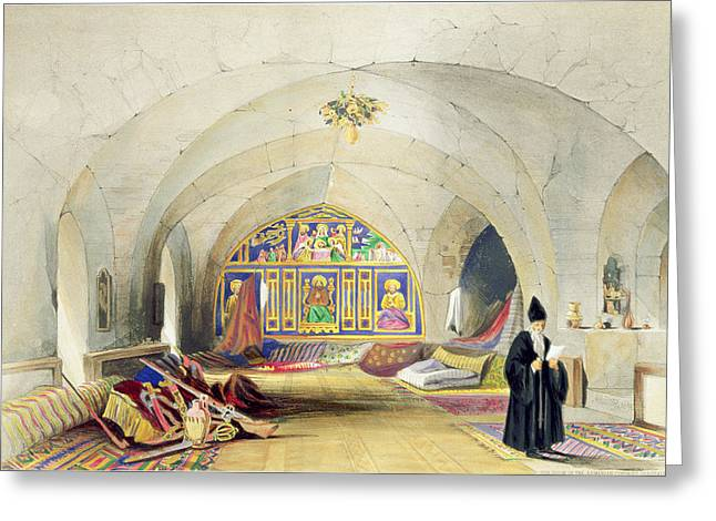 Priests Greeting Cards - Room In An Armenian Convent Greeting Card by A. Margaretta Burr