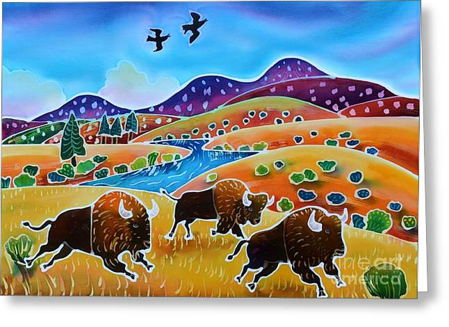 Buffalo Art Greeting Cards - Room to Roam Greeting Card by Harriet Peck Taylor