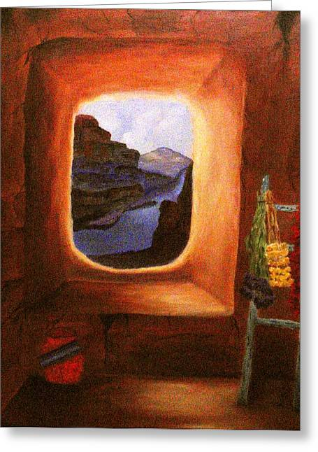 Pinion Paintings Greeting Cards - Room with a View Greeting Card by Janis  Tafoya