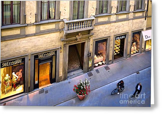 Dior Greeting Cards - Room with a View.Via Tornabuoni Greeting Card by Jennie Breeze