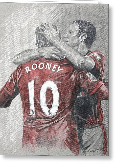 Wayne Rooney Greeting Cards - Rooney and Giggs Greeting Card by Stephen Rea