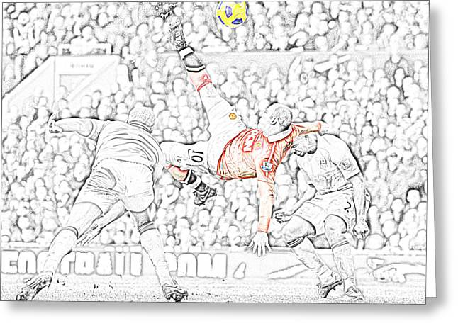 Wayne Rooney Greeting Cards - Rooney strike Greeting Card by Ennis Alhashimi