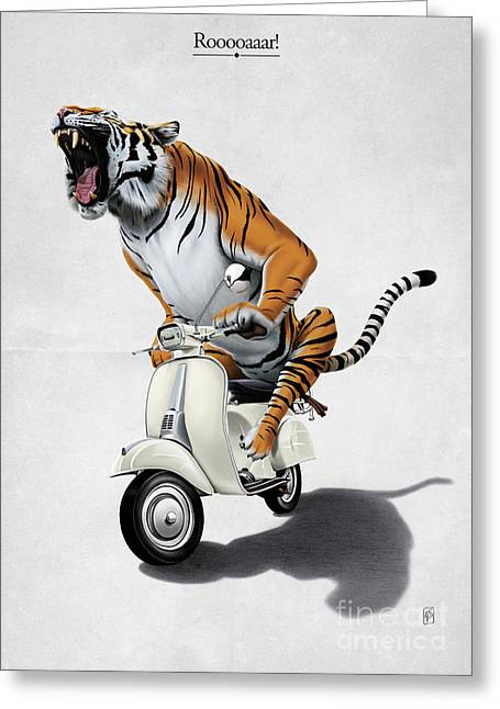 Tiger Illustration Greeting Cards - Rooooaaar Greeting Card by Rob Snow