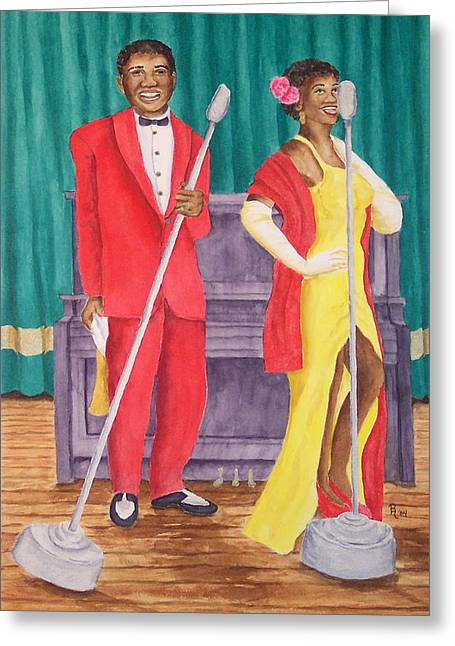 1950s Portraits Paintings Greeting Cards - Roosevelt and Lola Greeting Card by Rhonda Leonard